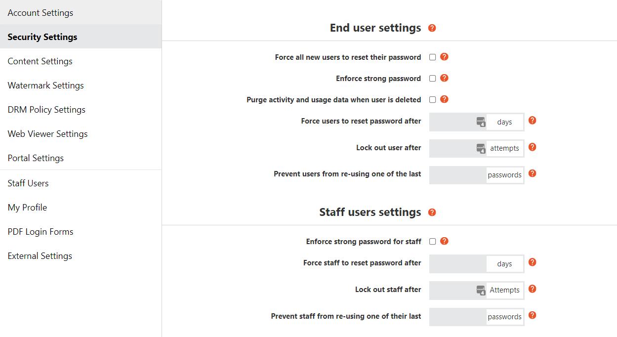 Vitrium Password Controls