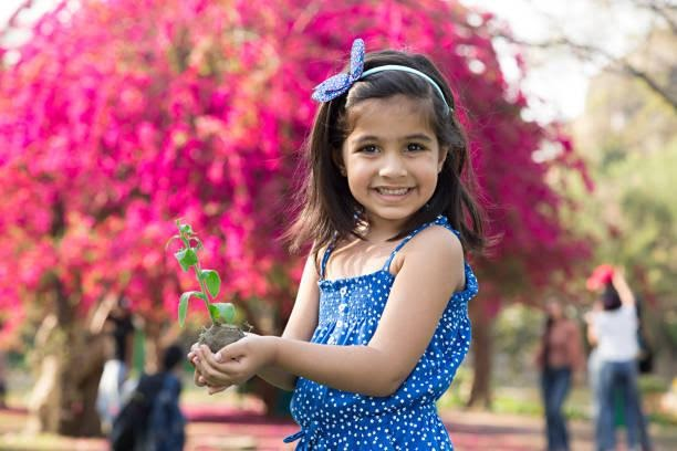 A child with plant