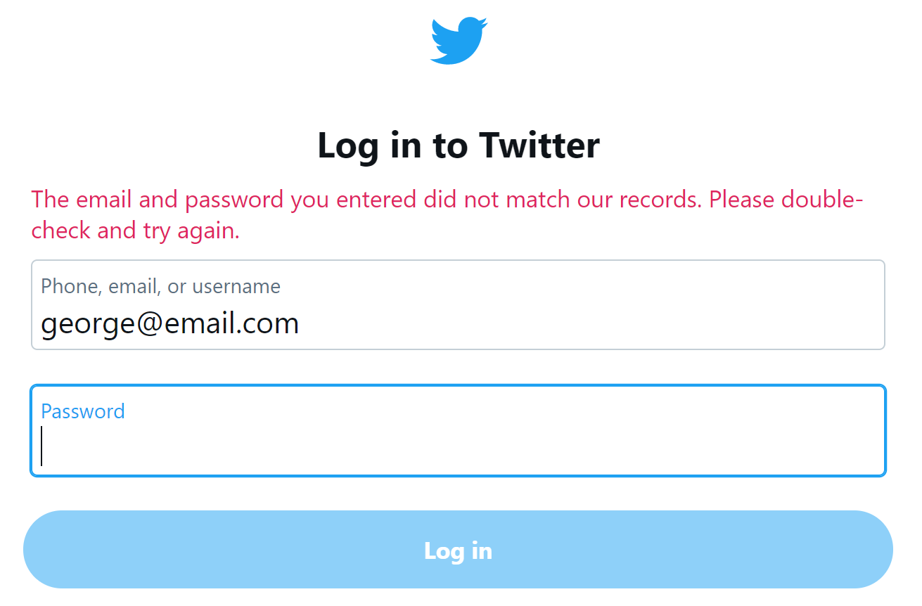 the email and password do not match our records