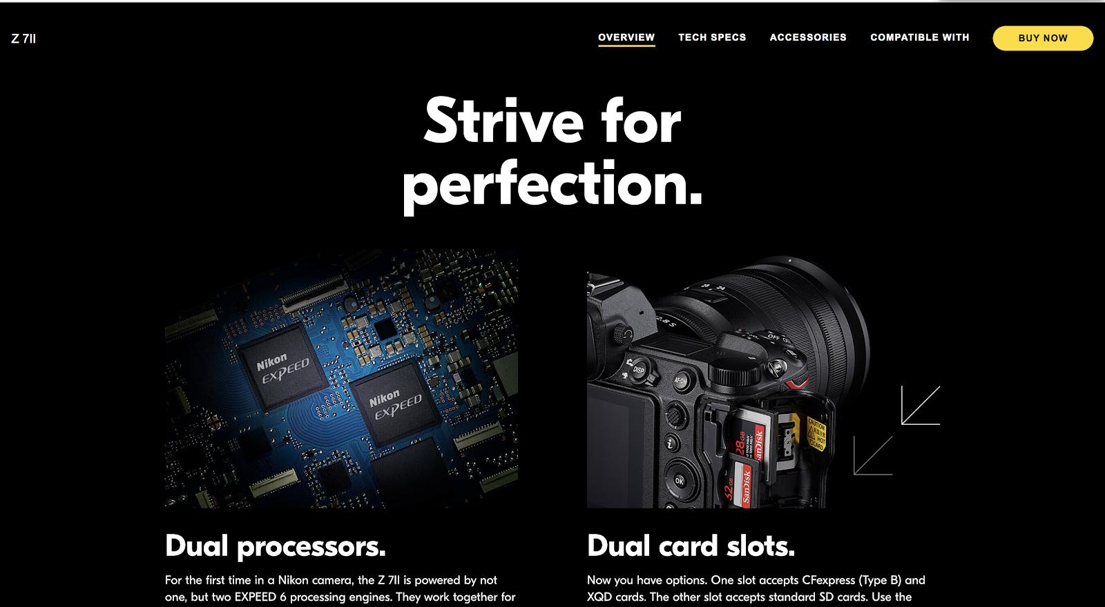 Multilingual Website Example: Nikon Canada product page