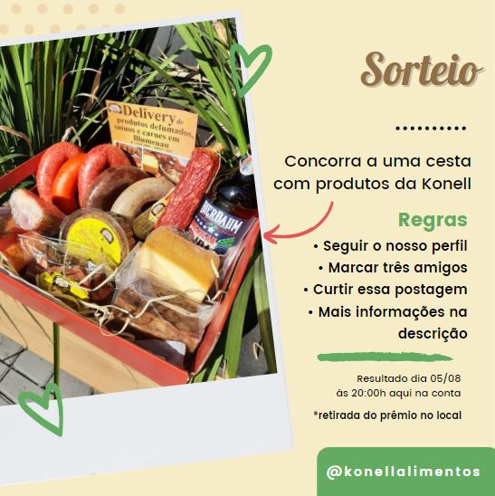 foto oficial do sorteio de 1 cesta com produtos da Konell Alimentos