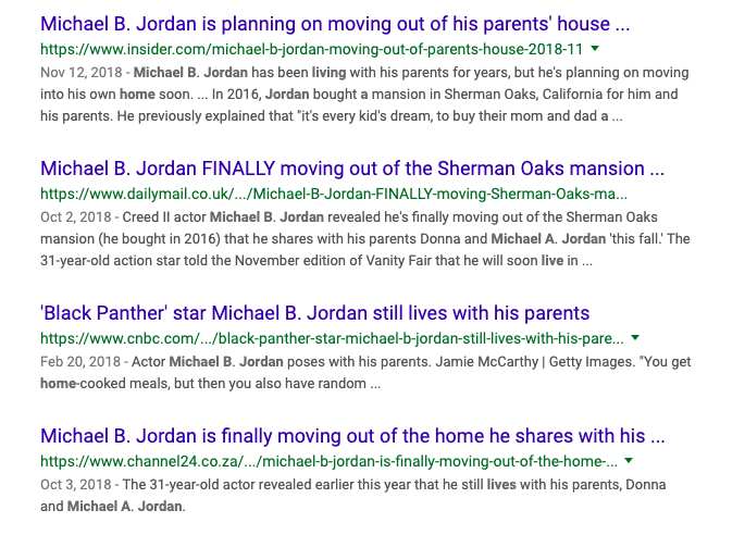 Screenshot of headlines about Michael B. Jordan living with his parents