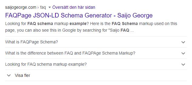 Exempel på hur FAQ-schema (strukturerad data) ser ut i Google