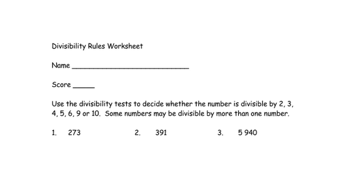 Divisibility Rules Worksheetdocx Google Docs – Divisibility Tests Worksheet