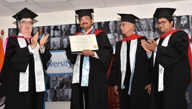 Image result for UN founded University of Peace confers Honorary Doctorate on Vice President of India