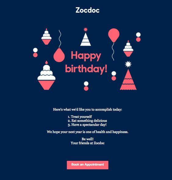 Choose a different color scheme! ZocDoc breaks away from its usual template, going with bolder colors.