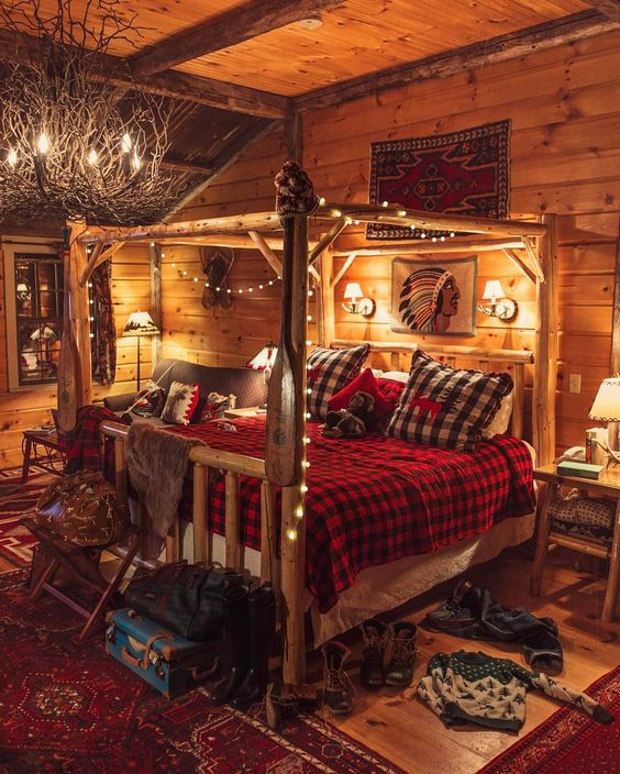 Add String Lights To Your Four Poster Bed