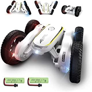 DE38 RC Stunt Cars,Remote Control Car for Kids,50 Mins Playing Time,4WD Double-Sided Racing Vehicles,Fancy Rotating,360 Degree Flips,Cool Lights & Music,Nice Gifts for Boys & Girls,Tumbling Toy Color White