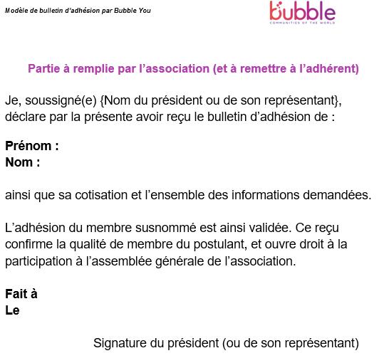 Exemple bulletin d'adhésion à une association