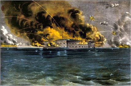 Fort Sumter under Confederate bombardment.