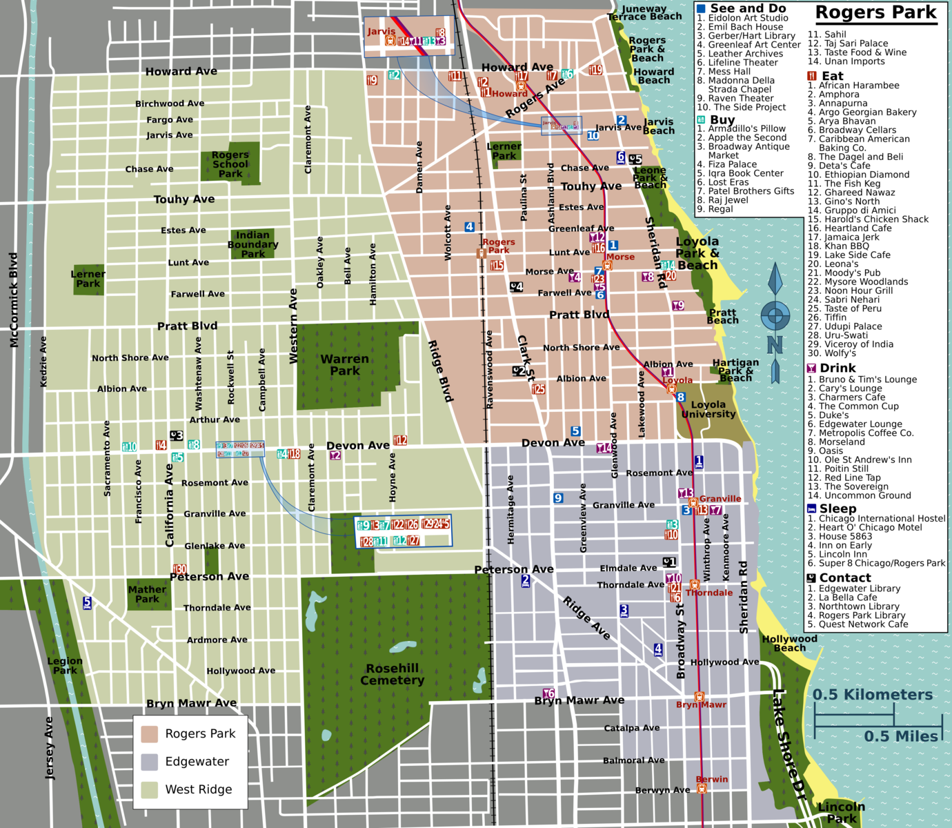 Map of Rogers Park Chicago