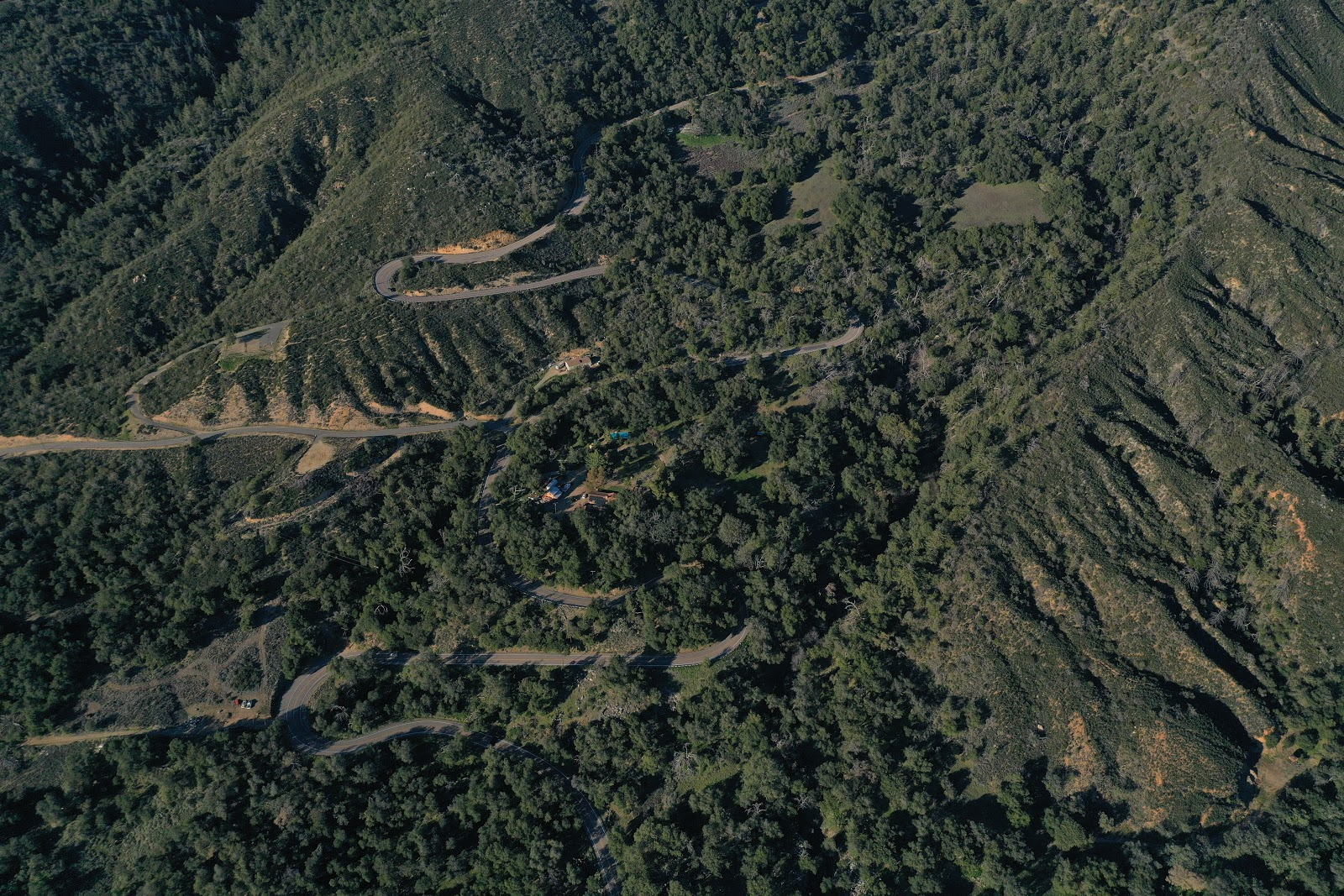 Cycling Palomar Mountain - aerial drone photo of several hairpins
