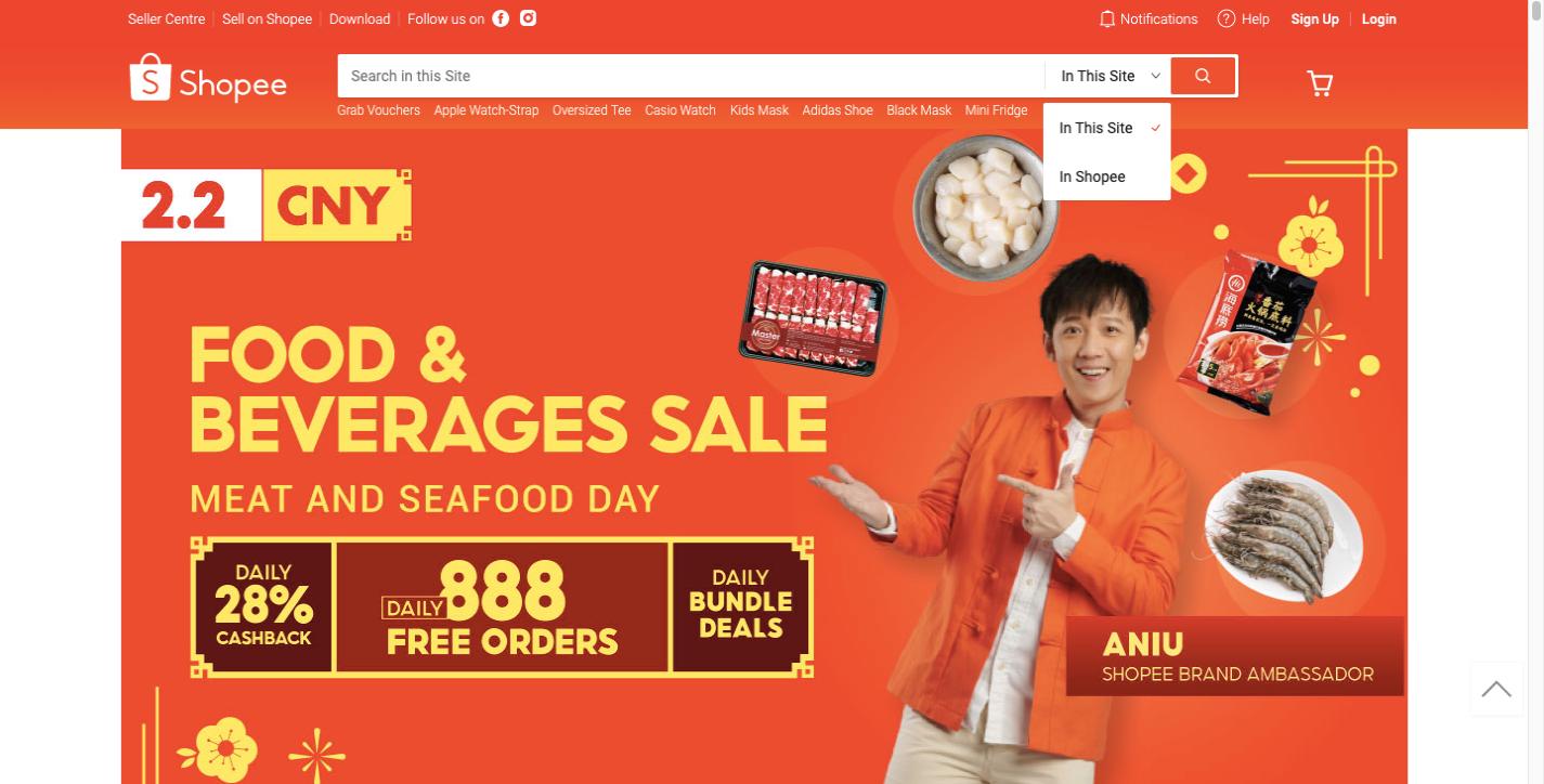 Shopee ecommerce website design