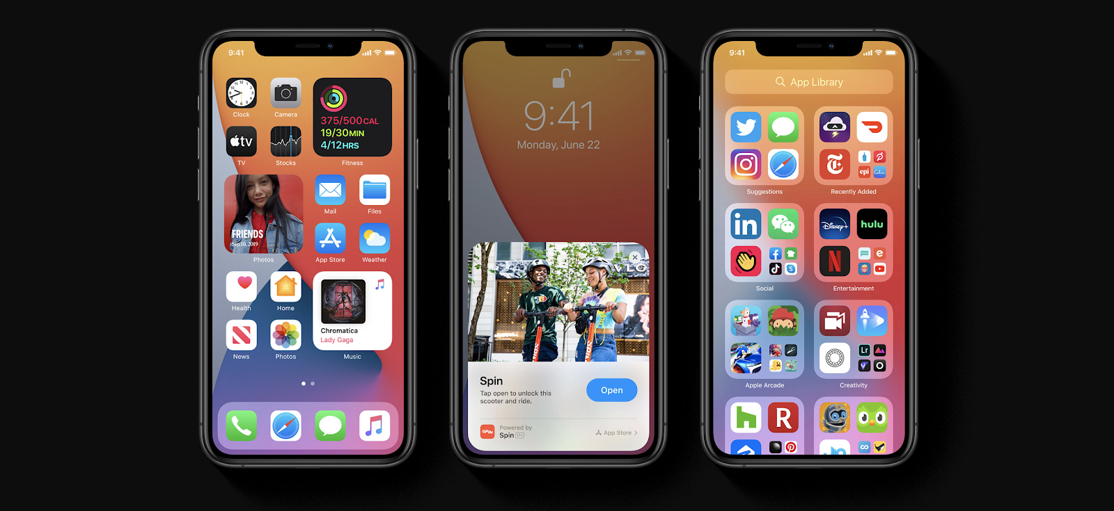 iPhones depicting new features included custom widgets, app clips, and the new app library.