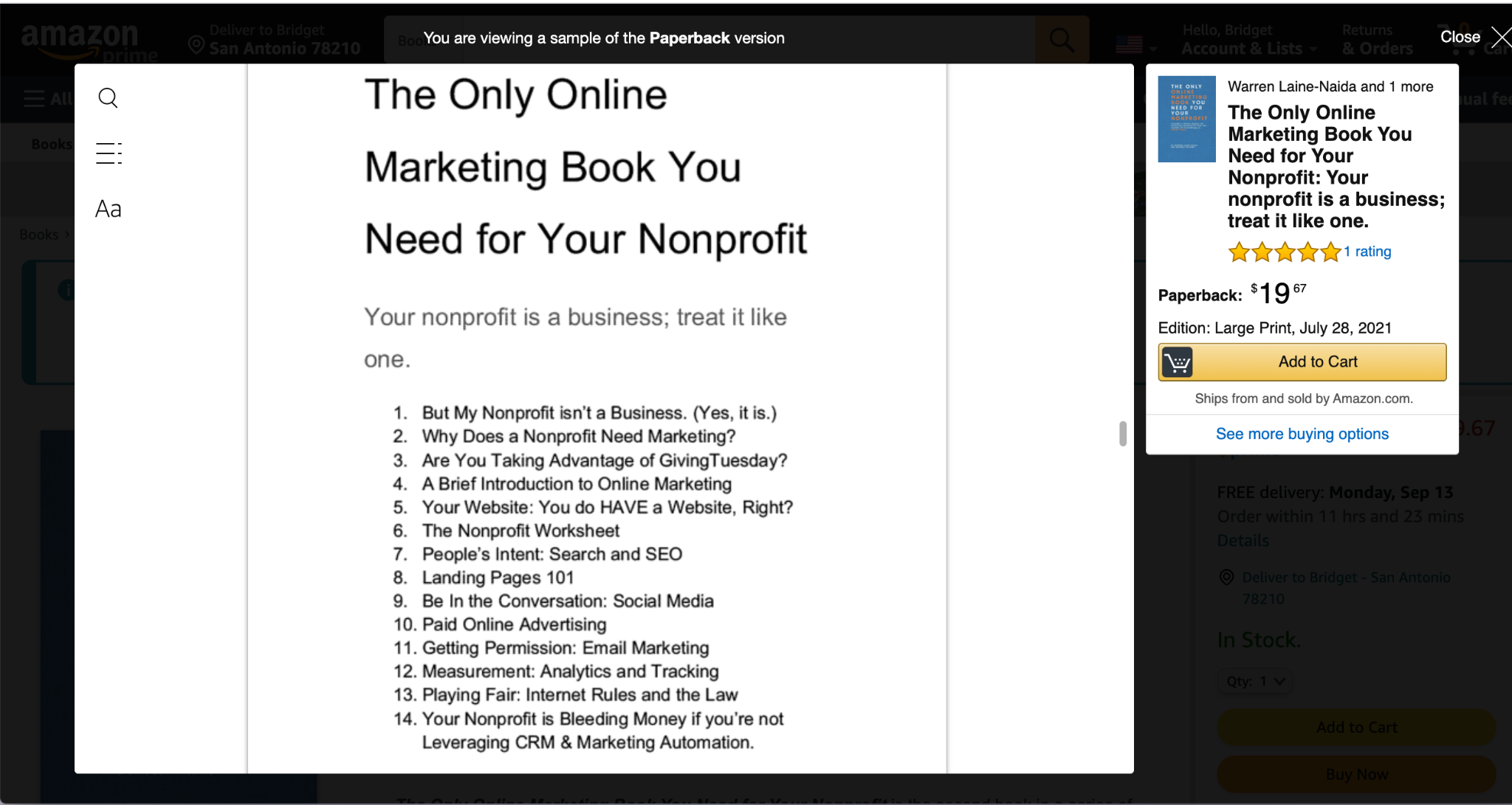 Table of contents screenshot for The Only Online Marketing Book You Need for Your Nonprofit.