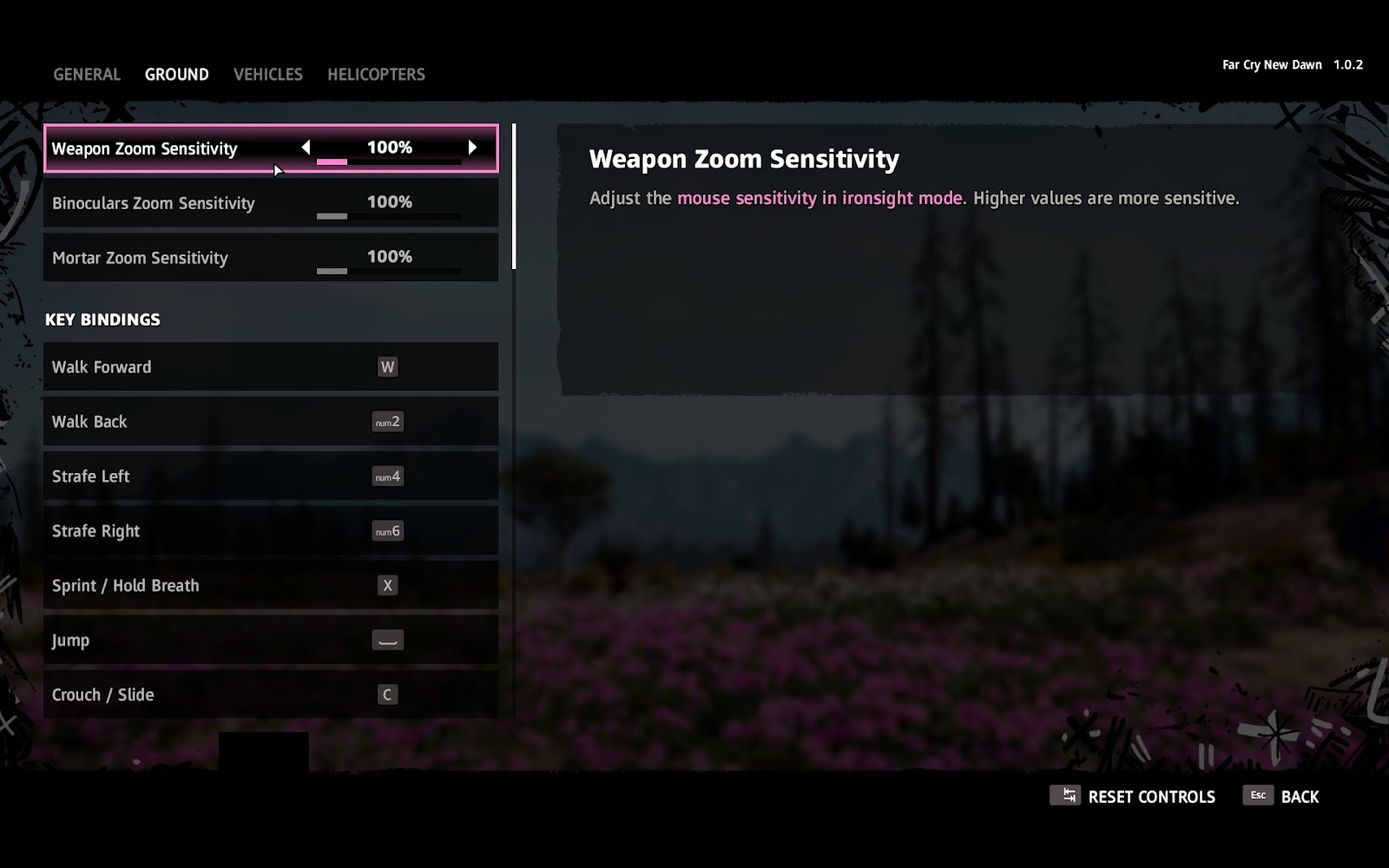 All key rebinds for movement, actions, combat and sensitivity settings