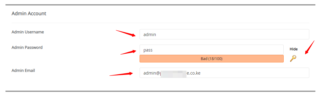 choosing username and password for your new website