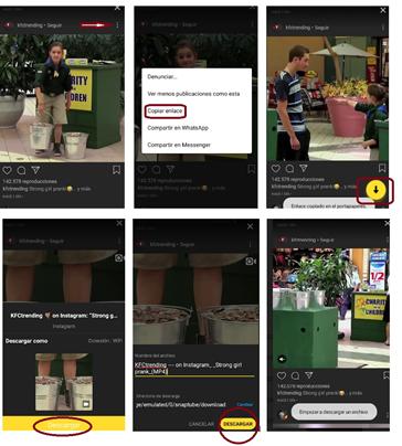 Capturas de pantalla indicando paso a paso como descargar videos de Instagram con Snaptube