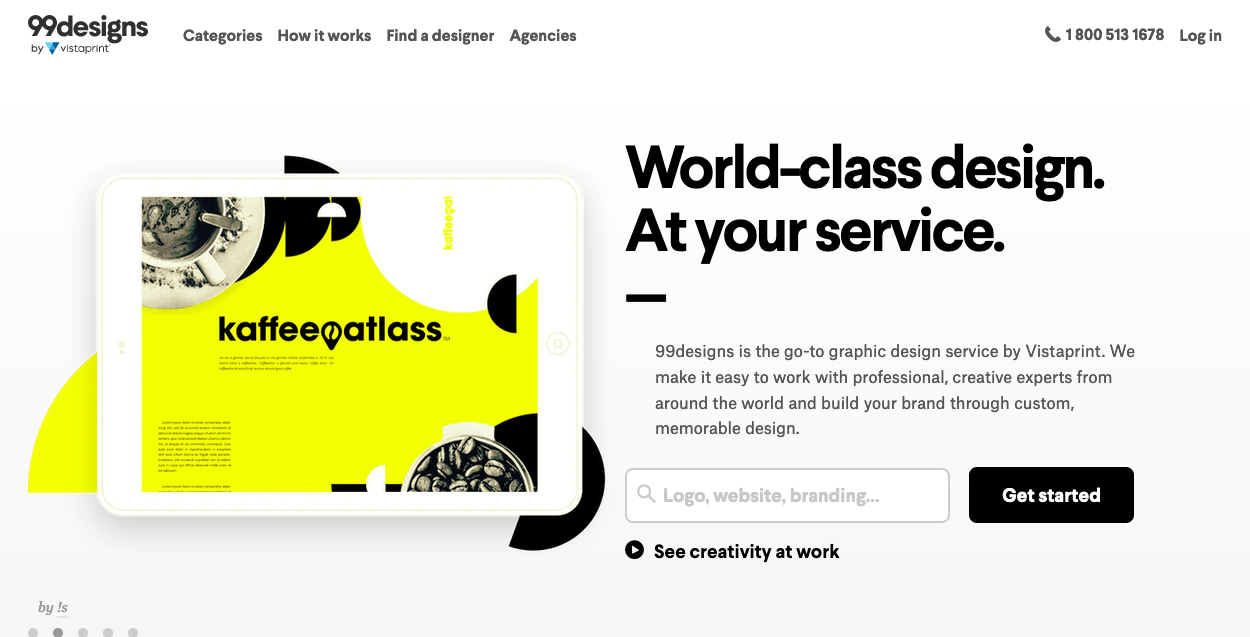 Screenshot of freelancing website: 99designs