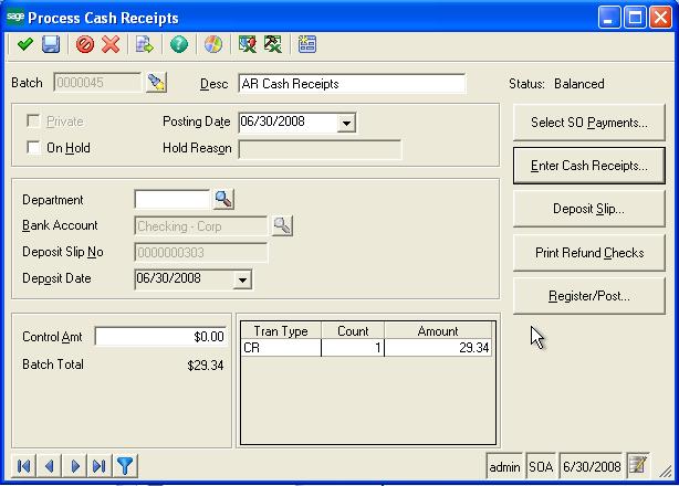 Process Cash Receipt