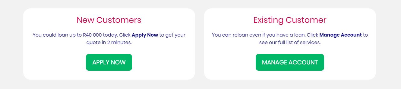 Finchoice website options for customers
