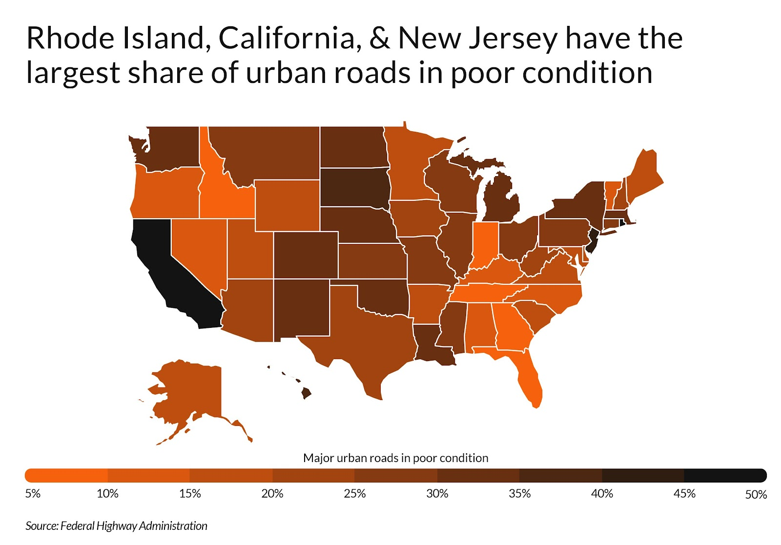 Heatmap showing states with largest share of urban roads in poor condition