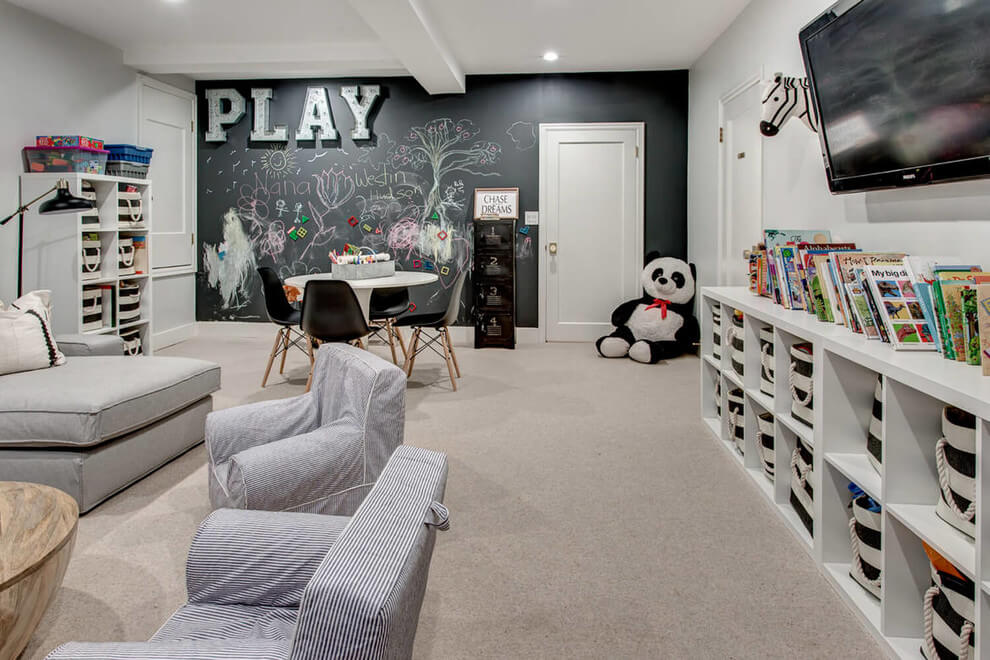 black and white basement playroom