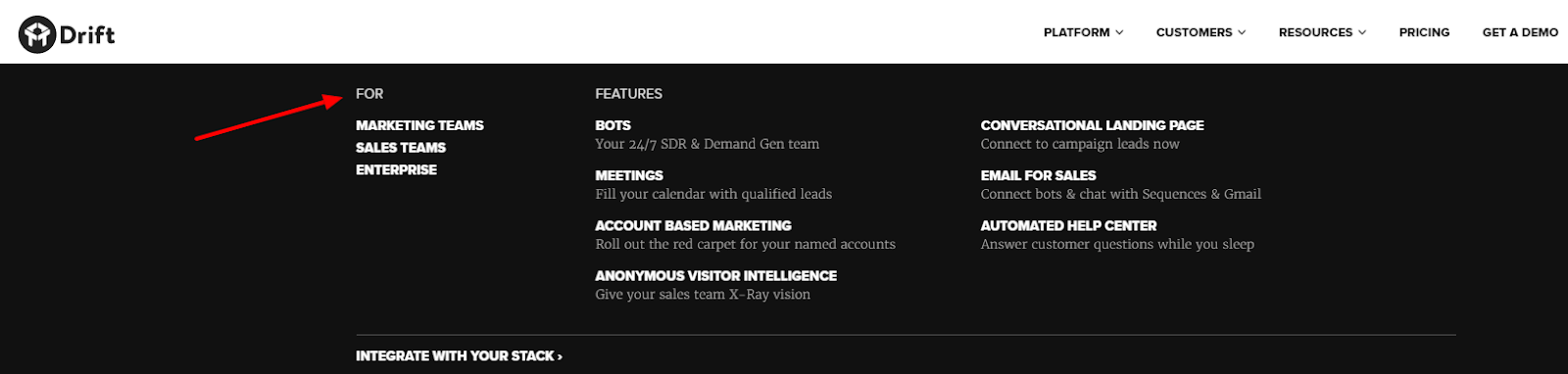 Screenshot from Drift's website shows their persona-driven navigation and landing pages.