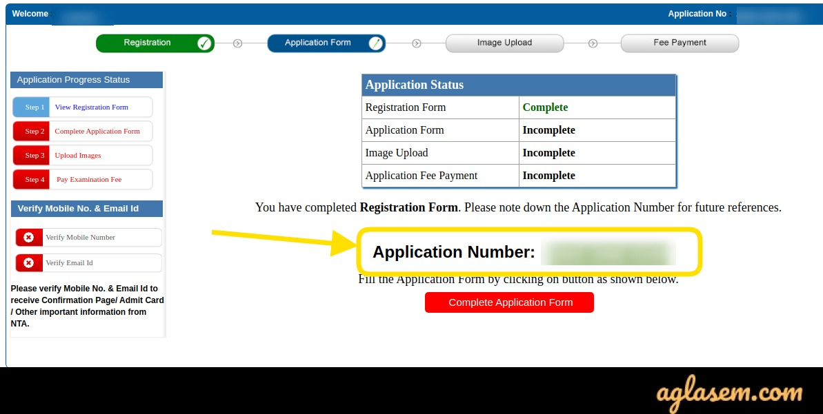 JEE Main 2021 Application Number