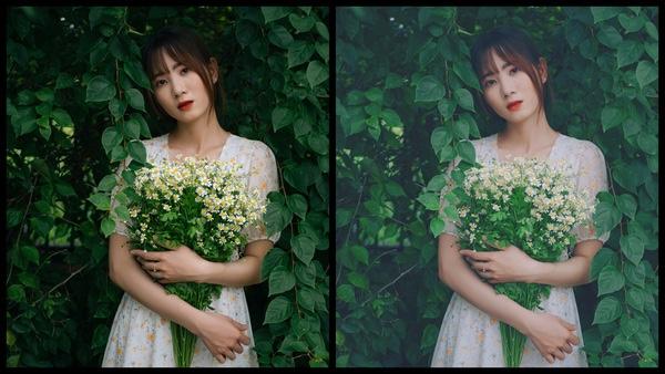 Montagem de duas fotos usando a mesma mulher segurando um buquê de flores, com um vestido florido e em um fundo com várias plantas. Foto 1 sem edições e foto 2 usando o Filtro SI-3