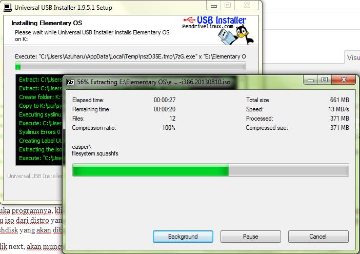 membuat installer linux di windows dengan universal usb installer