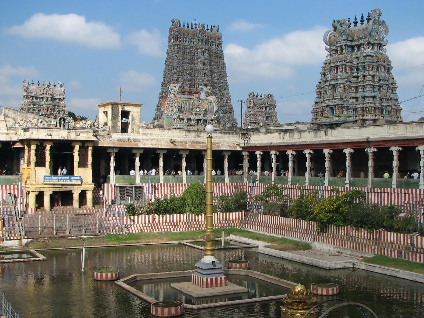 Meenakshi temple gopura and water pool