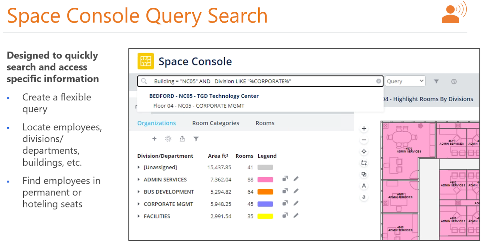 """Machine generated alternative text: Space Console Query Search  Designed to quickly  search and access  specific information  Create a flexible  query  Locate employees,  divisions/  departments,  buildings, etc.  Find employees in  permanent or  hoteling seats  r  Space Console  Q  Building - """"NC05"""" AND Division LIKE  BEDFORD - NC05 - TGD Technology center  Floor 04 - NC05 - CORPORATE MGMT  Organizations  Room Categories  Rooms  Legend  Division/Department  [Unassigned]  ADMIN SERVICES  BUS DEVELOPMENT  CORPORATE MGMT  FACILITIES  Area ft2  15,437.85  7,362.04  5,294.82  5,948.25  2,991.54  Rooms  41  35  O Query  )4 - Highlight Rooms By Divisions  IEjLj Lj"""