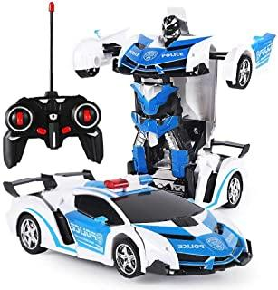 VASLON Remote Control Car Robot, Transformer Car Toys, 360 Degree Rotating with One-Button Deformation with LED Light, Robot Cars Kit Toy for Kids (Blue)