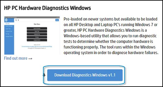 Click Downloading Hardware Diagnostics for Windows
