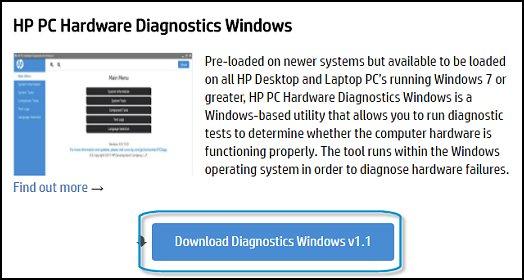 Click Downloading Hardware Diagnostics for Windows