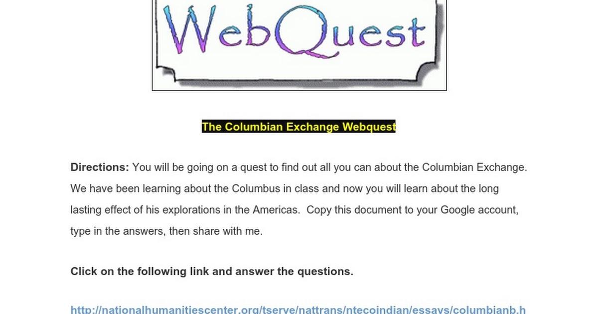 The Columbian Exchange Webquest - Google Docs