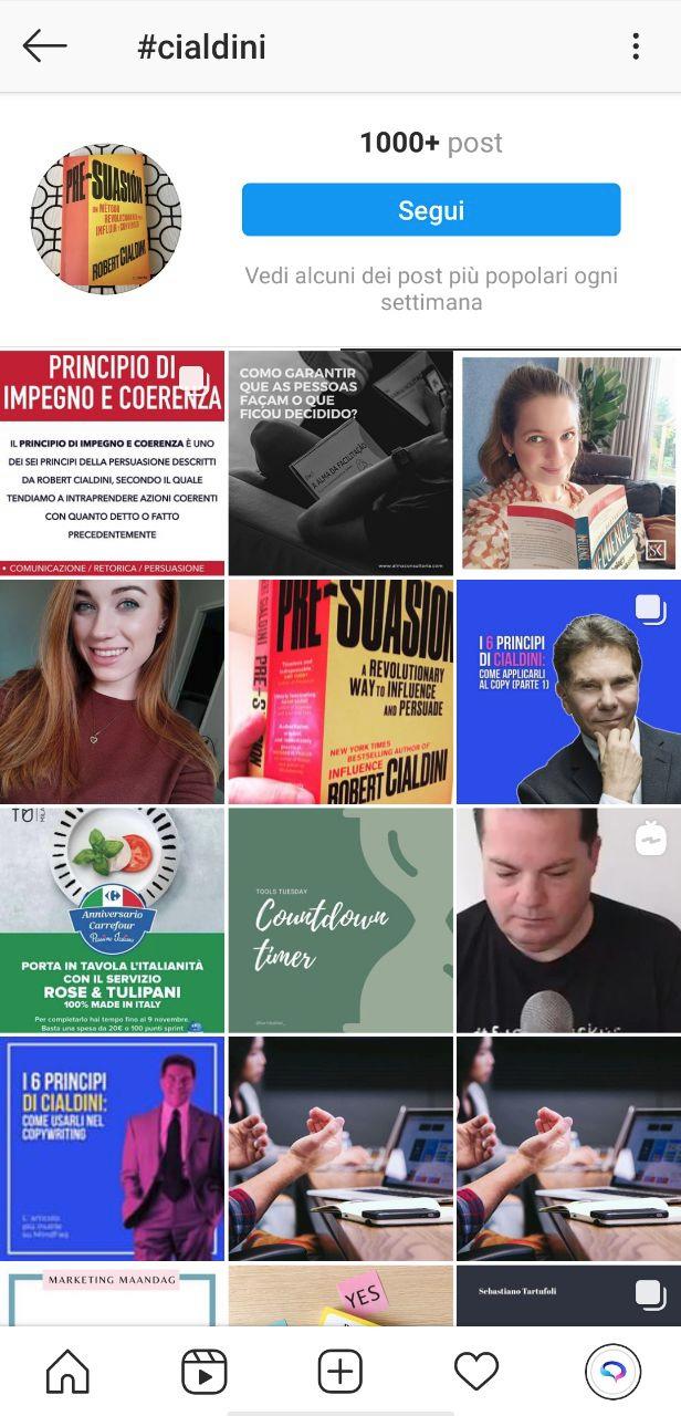 feed instagram su hashtag #cialdini usando il blu per catturare l'attenzione