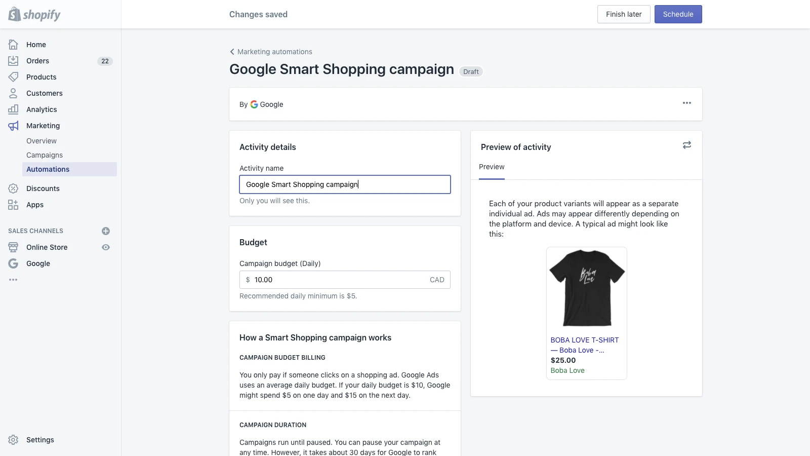 Image of a Shopify store admin dashboard on the Google Smart Shopping section