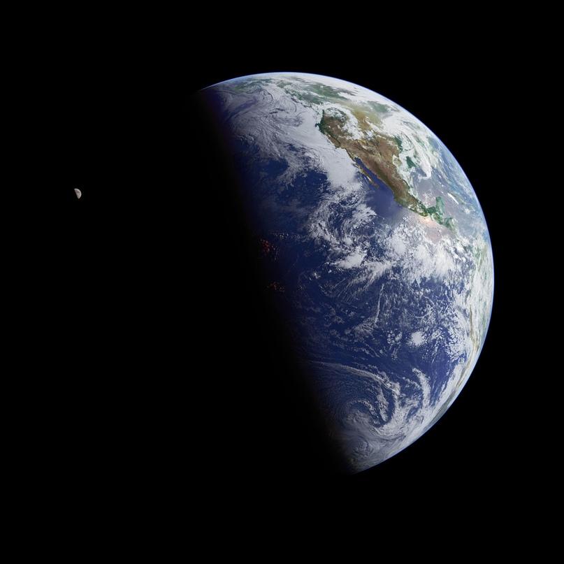 Земля и Луна. Этот снимок, сделанный с помощью пролетавшего над Тихим океаном геостационарного спутника, захватил в кадр и Землю, и ее спутник. В средней части океана, высокие облака светятся красным — это отблески восходящего солнца