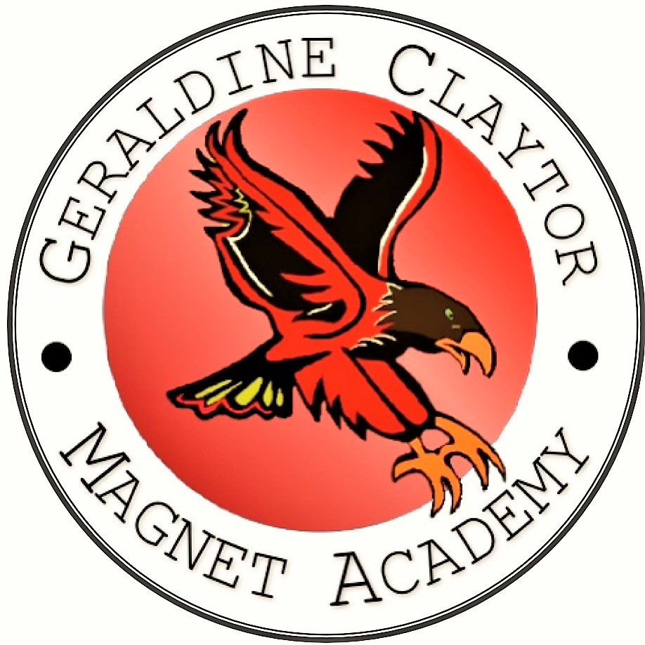 Red, black, brown, and yellow hawk on a red background. Words Geraldine Claytor Magnet Academy surrounding the hawk