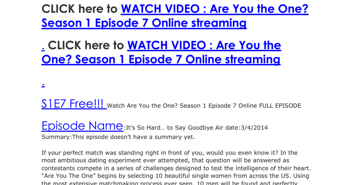 S1e7 Free Watch Are You The One Season 1 Episode 7 Online Full