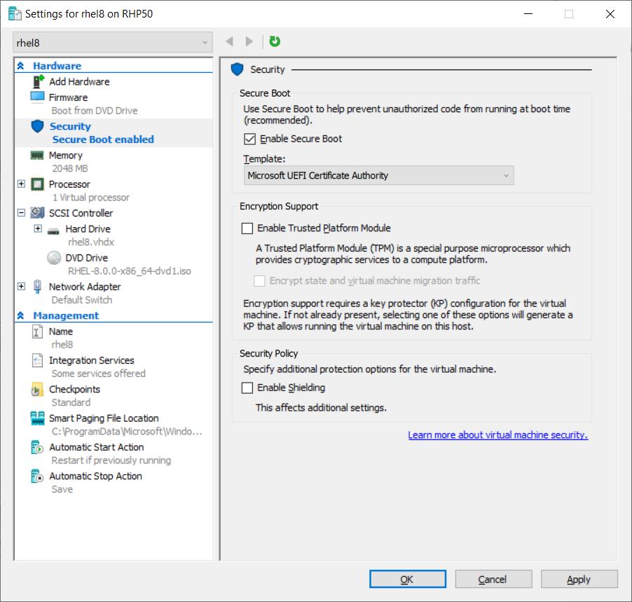 RHEL 8 Quick Install - Hyper-V | Red Hat Developer