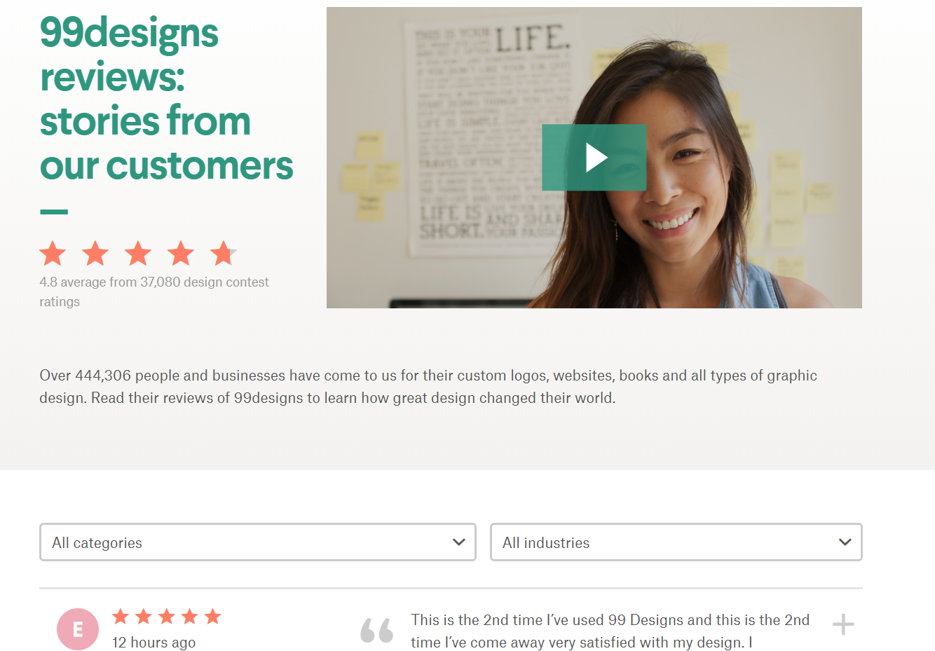 99designs Customer Videos and Reviews