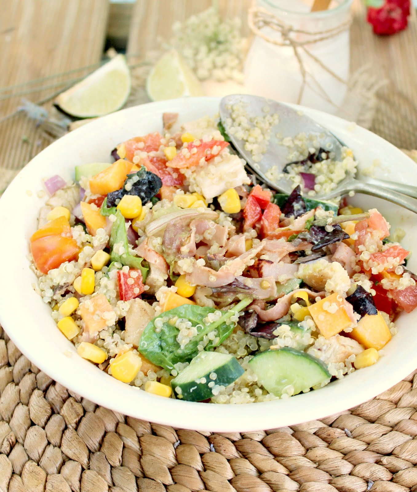 Grilled Chicken Quinoa Rainbow Salad with Lime Avocado Dressing - the perfect low cal, refreshing summer meal!