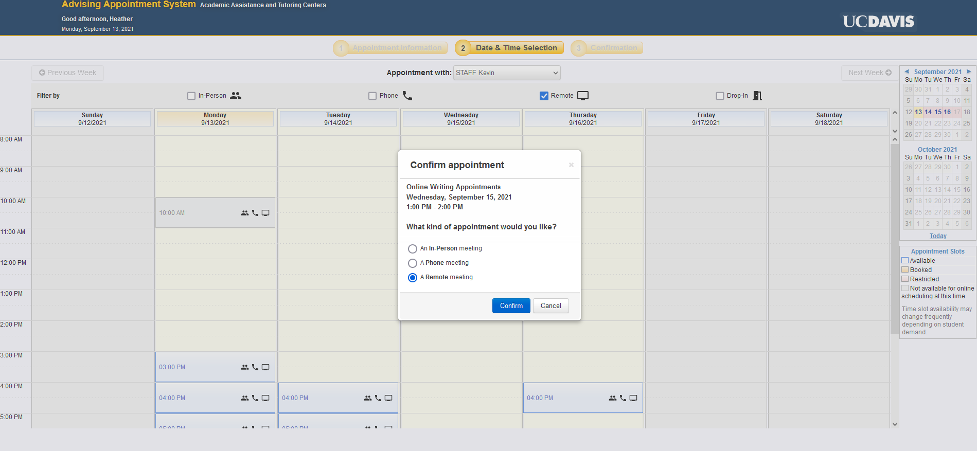 Example of Appointment System calendar booking