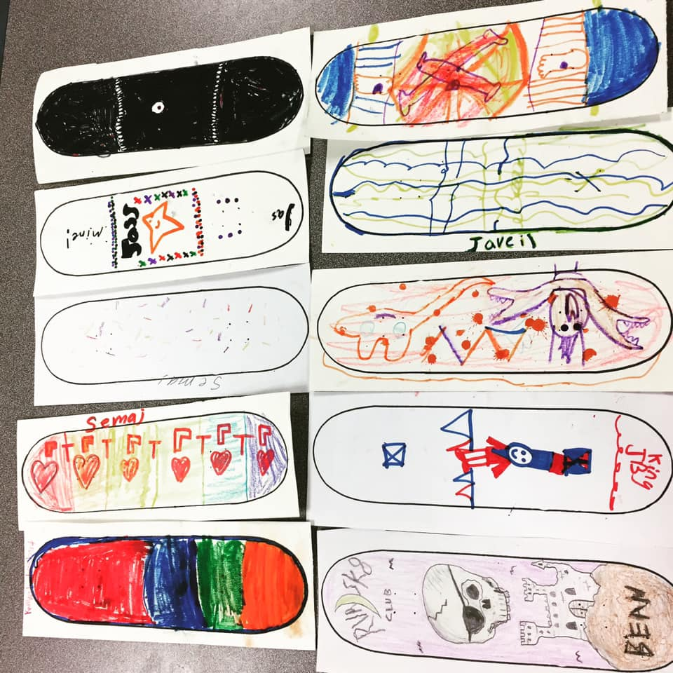 Drawings of skateboards, by SK8 Club students