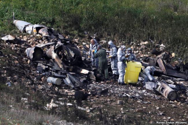 Место падения израильского истребителя F-16 под Хайфой