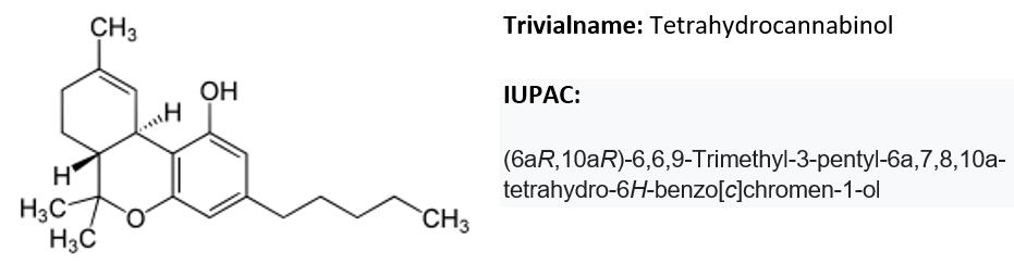 Wirkung von Cannabinoiden   Tetrahydrocannabidol, chemische Formel