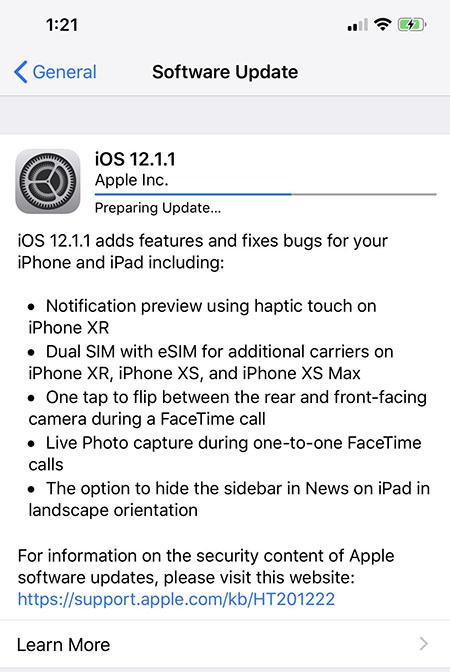 có nên nâng cấp lên ios 12.1.1